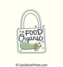 Organic food logo template, label for healthy food store, vegan shop, vegetarian cafe, ecology company, natural products, eco market, farming hand drawn vector Illustration on a white background