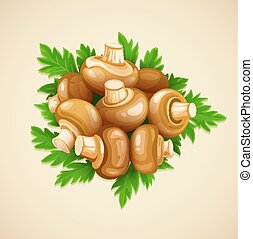 Organic food mushrooms champignons with green parsley