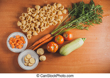 organic food on a wooden table,