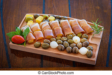 Organic food on wooden table