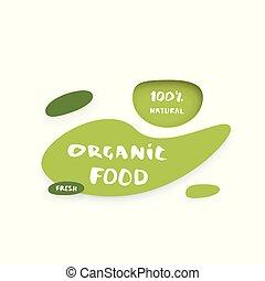 Organic Food paper cut banner. Vector illustration.