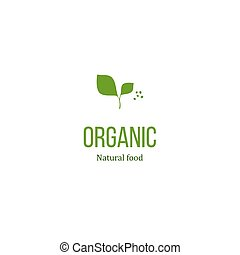 Organic food sign with green leaves