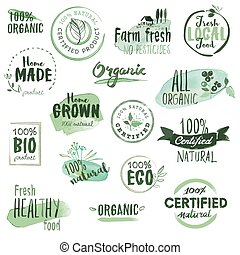 Organic food stickers and badges. Hand drawn watercolor vector illustration set for food and drink, restaurant, natural products.