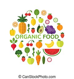 Organic food template. Healthy meal concept isolated on white background. Circle shape filled with fresh healthy fruits and vegetables. Vegan menu. Vector illustration
