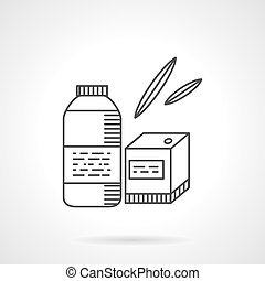 Organic food thin line vector icon. Bottle and box