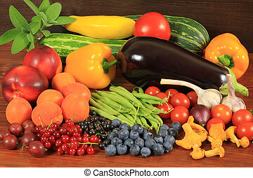 Organic food - Various fresh fruits and vegetables on a ...