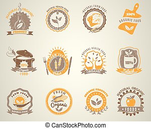 Organic food vintage style labels set
