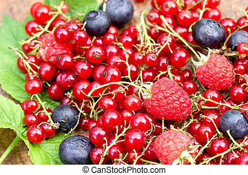 Organic forest berry fruit on rustic wooden table closeup