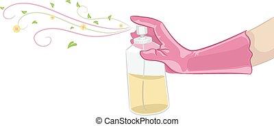 Illustration of a Hand Spraying Organic Air Freshener