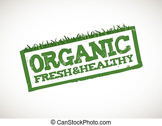 organic fresh and healthy sign illustration