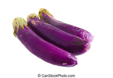 organic Fresh eggplants isolated on white
