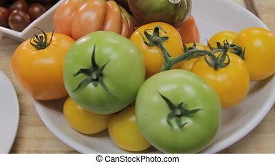 Organic fresh tomatoes - Close up of fresh organic tomatoes....