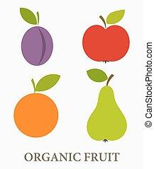 Organic fruit icons