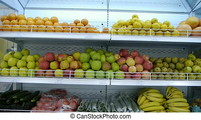 organic fruits and vegetables on the supermarket shelf. a healthy way of life. vegetarian food
