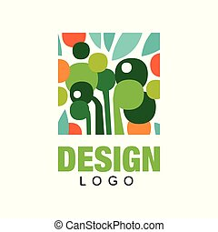 Organic fruits logo template. Abstract label in rectangular shape. Healthy eating. Colorful flat vector design for farm market or product packaging