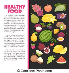 Organic fruits poster of healthy food and farm berries. ...