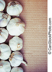 Organic garlic, clean eating concept