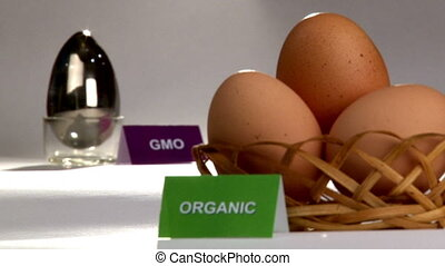 Organic and Genetically modified food, eggs. Campaign, appeal for healthy food. (with labels). Shallow depth of field.