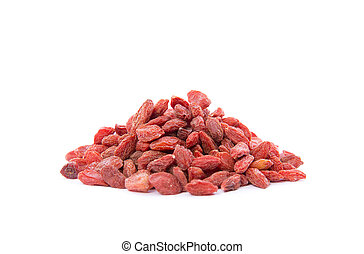 A close-up photo of a heap Goji Berries / gojiberries / Wolfberry on white background.