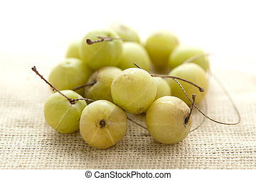 Organic gooseberry on jute mat. - Collection of Organic ...
