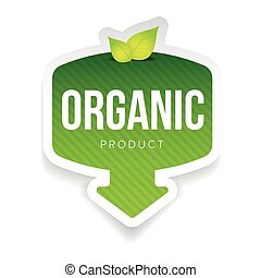 Organic green label with leaves