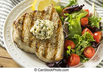 Organic Grilled Swordfish Steak with a Side Salad