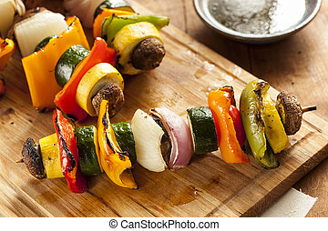 Organic Grilled Vegetable shish Kebab with peppers, ...