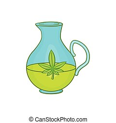 Organic hemp oil icon, cartoon style
