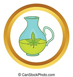 Organic hemp oil vector icon