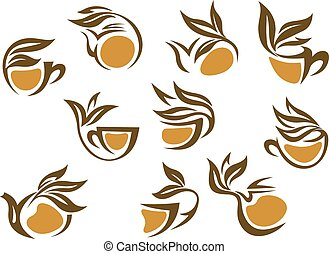 Organic herbal tea icons