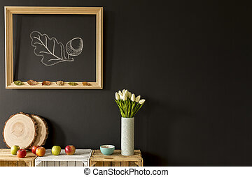 Organic home decor for autumn - Wooden frame hanging on a...