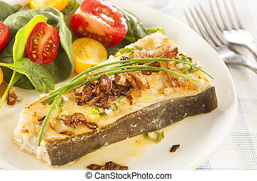 Organic Homemade Grilled Halibut Fish with a Salad