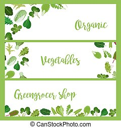 Organic horizontal banners with salad leaves
