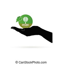 organic icon green vector in black hand