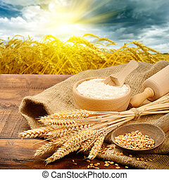 Organic ingredients for bread preparation with golden...