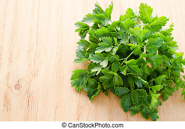 Organic italian flat leaf parsley ready to eat, closeup, ...