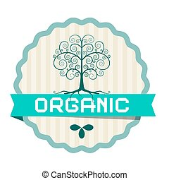 Organic Label with Plant Symbol and Tree