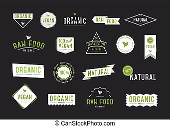 Organic labels set. Collection various logo for eco cosmetics or products.