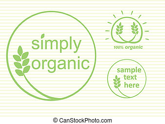 Organic Labels - Simply organic vector label, logo or...