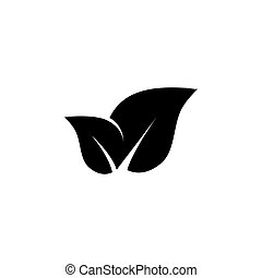 Organic Leaves, Leaf Pair, Nature Flat Vector Icon