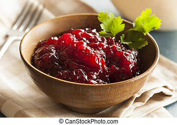 Organic Lingonberry Preserve Sauce in a Bowl