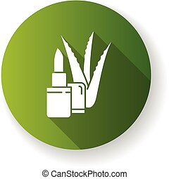 Organic lip balm green flat design long shadow glyph icon. ...