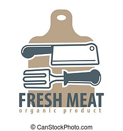 Organic meat product logotype with cutleries and cutting board