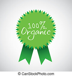organic medal  over gray background vector illustration
