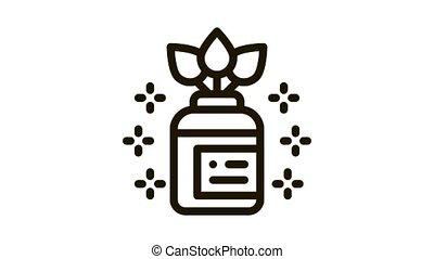 organic medicine vial Icon Animation. black organic medicine vial animated icon on white background