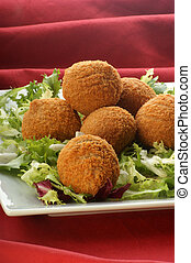 organic minced meat balls on a plate