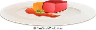 Organic molecular breakfast icon, cartoon style