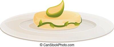 Organic molecular cuisine icon, cartoon style