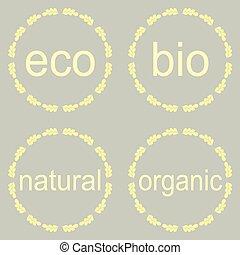 Organic natural bio and eco icons set