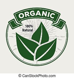 Organic, natural product logo or label. Vector illustration
